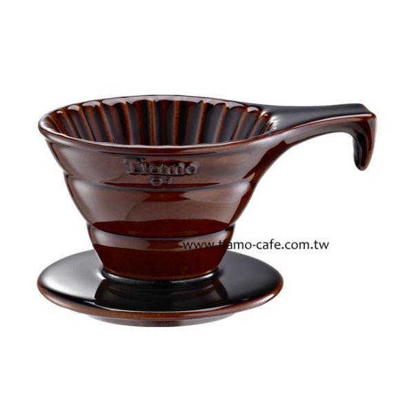 Tiamo V01長柄陶瓷咖啡濾器組 (咖啡) )附濾紙量匙 錐型咖啡濾杯,圓錐咖啡濾杯,V型濾杯,手沖咖啡專用濾杯