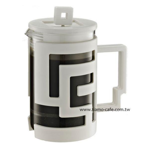 Tiamo 幾何圖文法式濾壓壺 800cc 白 法式濾壓壺,咖啡濾壓壺,居家濾壓壺