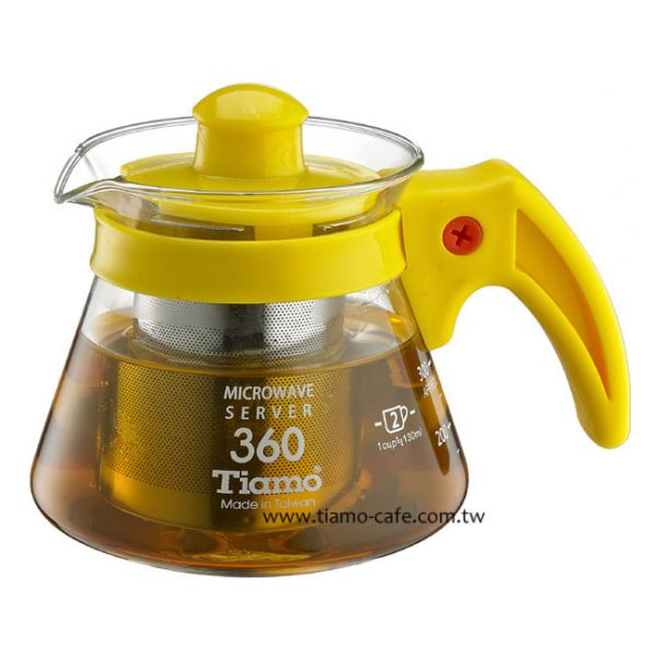 Tiamo 不鏽鋼濾網 玻璃花茶壺360cc 通過SGS檢測 花茶壺附濾網,透明玻璃花茶壺,透明玻璃咖啡壺,濾網玻璃水壺