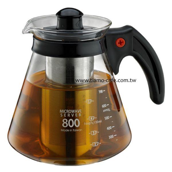Tiamo 不鏽鋼濾網 玻璃花茶壺800cc 通過SGS檢測 花茶壺附濾網,透明玻璃花茶壺,透明玻璃咖啡壺,濾網玻璃水壺