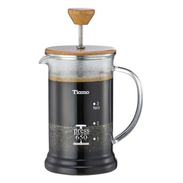 Tiamo 多功能1402木蓋濾壓壺4杯份 650cc 法式濾壓壺,咖啡濾壓壺,居家濾壓壺