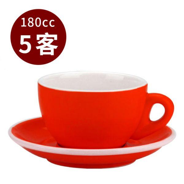 Tiamo 20號蛋形卡布杯盤組 5客 180cc 紅 馬克杯,咖啡杯,拿鐵杯,拿鐵專用杯,卡布杯,卡布奇諾專用杯,杯盤組
