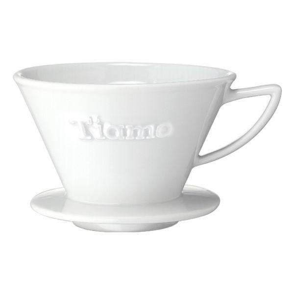 Tiamo K02 陶瓷咖啡濾器附滴水盤匙量匙 -白色 K形咖啡濾杯濾器,波浪型咖啡濾杯濾器,蛋糕型咖啡濾杯濾器