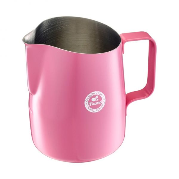 Tiamo 斜口拉花杯450cc-圓口設計 粉紅