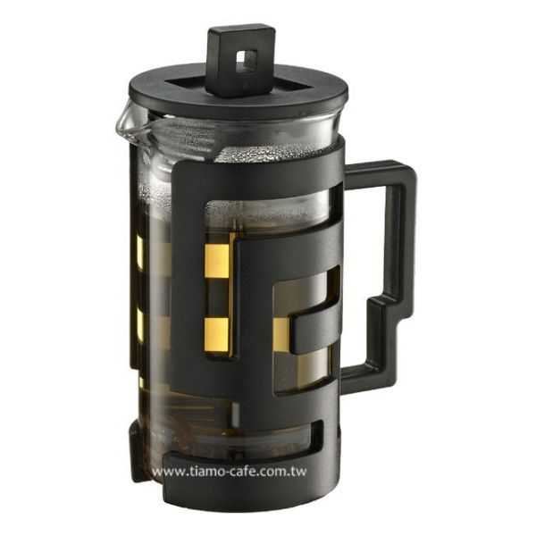 Tiamo 幾何圖文法式濾壓壺 300cc 黑 法式濾壓壺,咖啡濾壓壺,居家濾壓壺