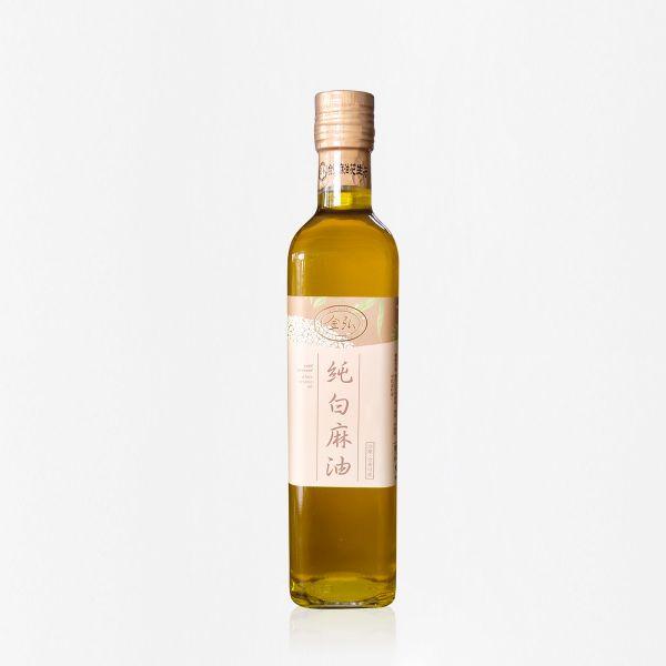 冷壓純白麻油 500 ml 精裝玻璃瓶 白麻油,冷壓白麻油,白麻油推薦,料理油,食用油