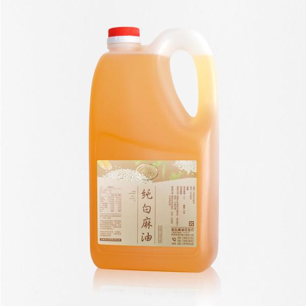 業務用|冷壓純白麻油 3kg 塑膠桶裝 白麻油,冷壓白麻油,白麻油推薦,料理油,食用油