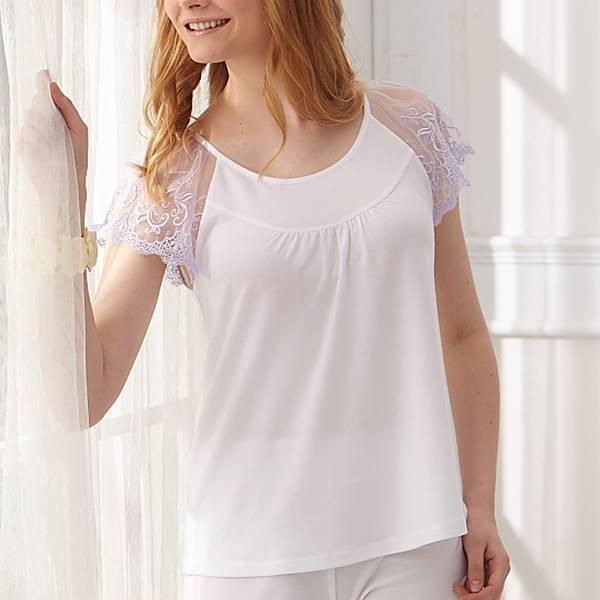 負離子機能短袖 / N2216粉嫩甜心 / 白/櫻粉 負離子衣物,手腳,冰冷,冬天,保暖,發熱