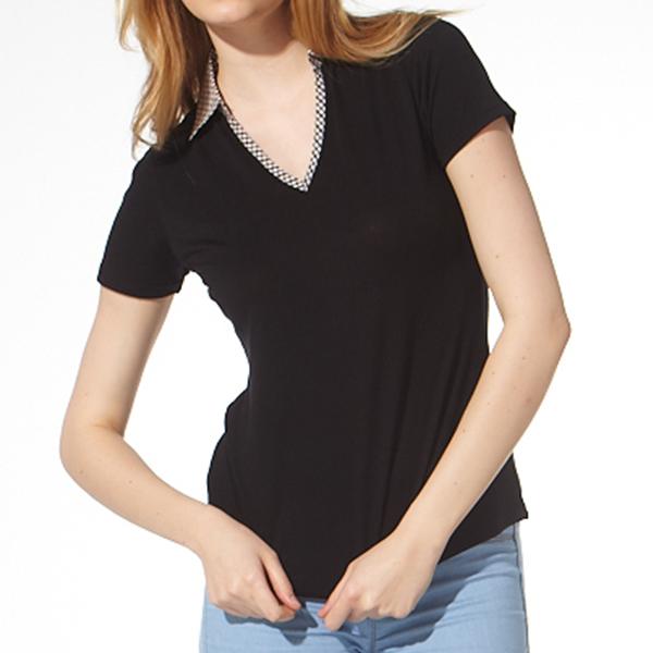 負離子機能短袖 / S2612格紋V領 / 黑 負離子衣物,手腳,冰冷,冬天,保暖,發熱