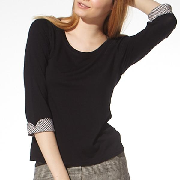 負離子機能7分袖 / S2614反摺格紋 / 黑/紅/可可 負離子衣物,手腳,冰冷,冬天,保暖,發熱