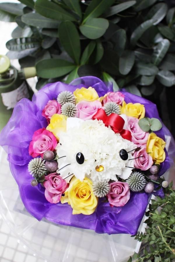 經典款 - KT 雙色玫瑰深紫花屋 鑽石黃玫瑰 送花 桌花 鮮花  Hello Kitty