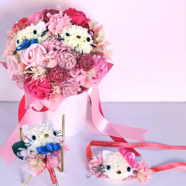 夢幻婚禮系列(捧花、胸花、手腕花) Hello Kitty凱蒂貓 造型花束 乾燥花 不凋花 婚禮