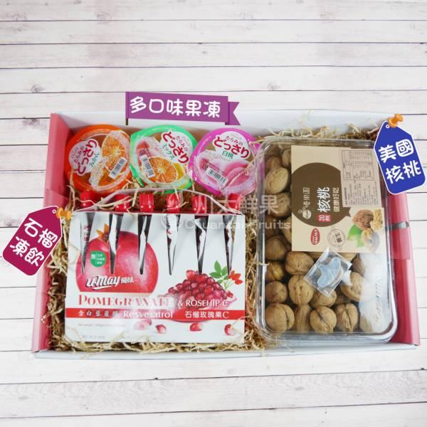 石榴凍飲/果凍/帶殼核桃禮盒組(免運) 綜合禮盒,多口味,飲品,常溫,蘋果汁,日本果凍,日本生菓子