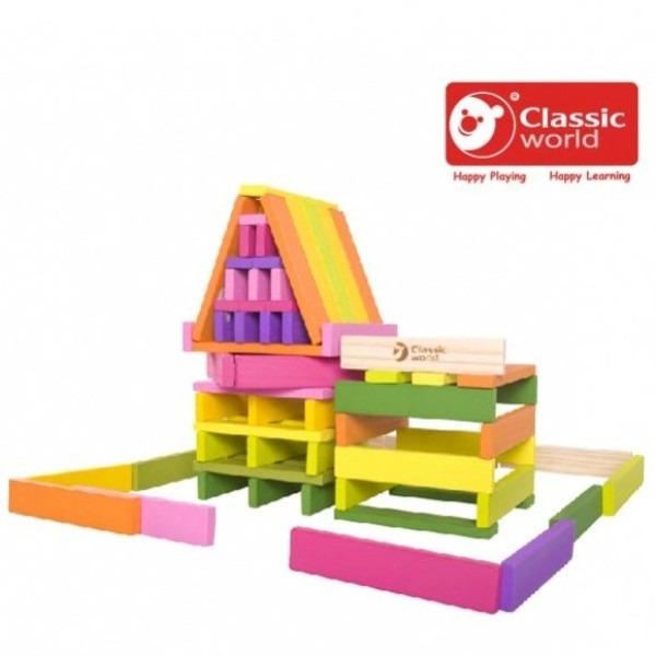 ♛ CLASSIC WORLD ♛ 彩虹建築積木片 100PCS