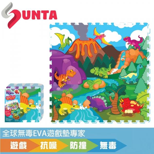 《SUNTA拼接樂扣墊》恐龍世界 EVA樂扣遊戲墊-32*32*1CM(9片裝) SUNTA 拼接墊 地墊 樂扣墊 爬行墊 防摔 防撞