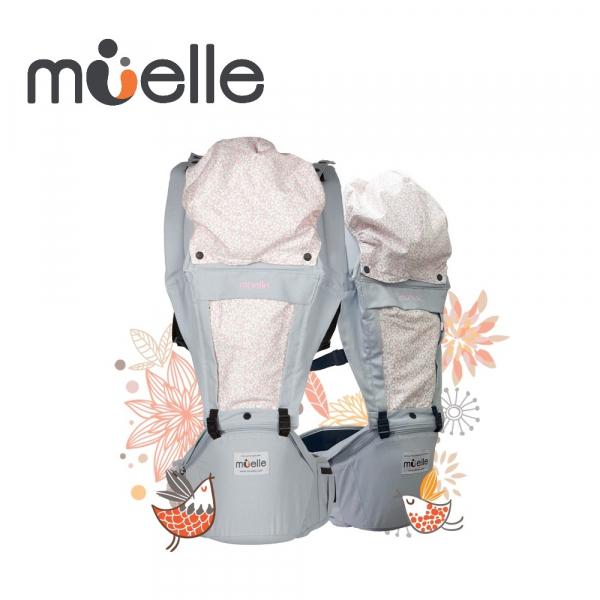 《韓國MUELLE》HIPSEAT 坐墊式嬰兒腰凳背巾 - 灰色花園PURE & GRAY 韓國 MUELLE 坐墊式嬰兒腰凳 背巾