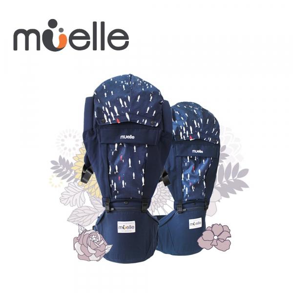 《韓國MUELLE》HIPSEAT 坐墊式嬰兒腰凳背巾 - 藍色小魚BLUE & FISH ◆100%韓國原裝進口  韓國 MUELLE 坐墊式嬰兒腰凳 背巾