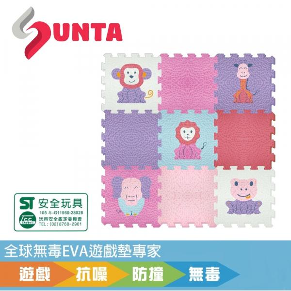 《SUNTA拼接爬行墊》可愛動物(B) EVA樂扣遊戲墊-30*30*1CM(9片裝)