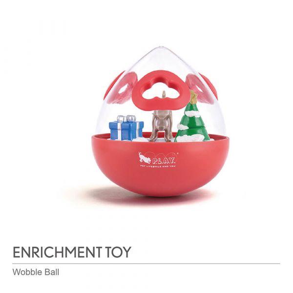 【寵物陪伴、抗憂鬱玩具】P.L.A.Y.沃比搖擺球 2.0升級版【聖誕紅】{中大型犬適用}