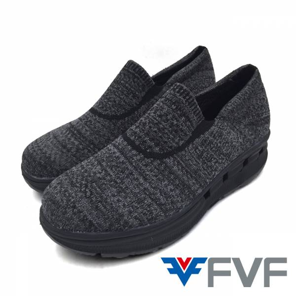 Breathable增高健走編織鞋-黑灰(黑底)
