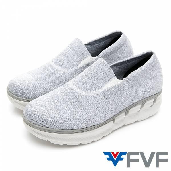 Breathable增高健走編織鞋-白灰