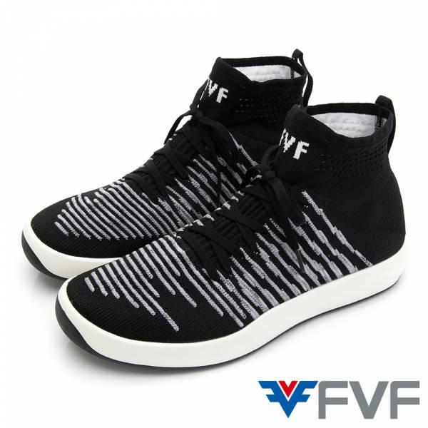 Sock條紋襪套綁帶編織鞋-黑