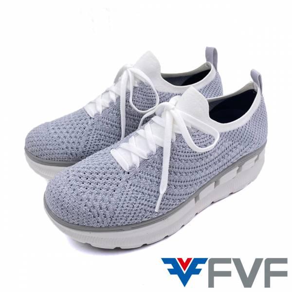 FVF 厚底編織休閒鞋-灰白
