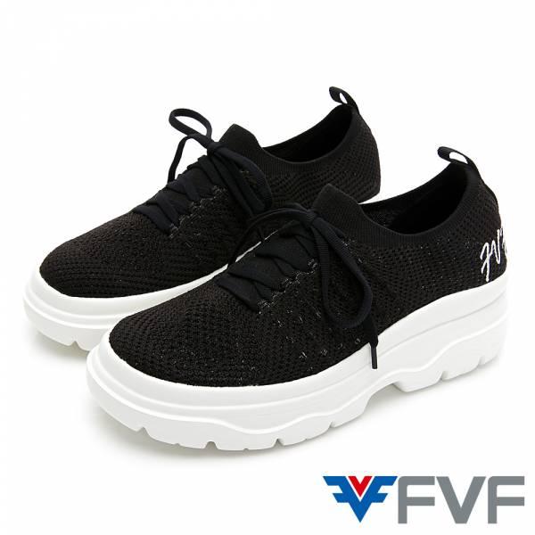 FVF 刺繡厚底筒編織休閒鞋-黑
