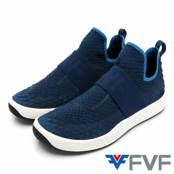 Sock 線條感鞋底編織鞋-深藍