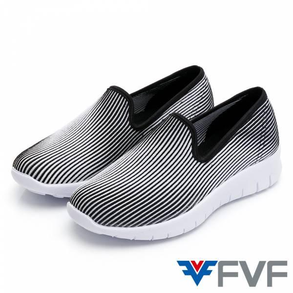 3D 立體直條紋休閒編織鞋-黑白