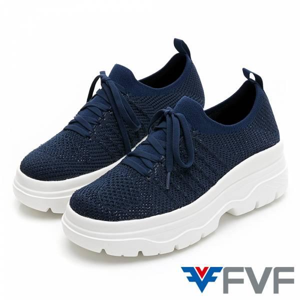 FVF 厚底筒編織休閒鞋-深藍