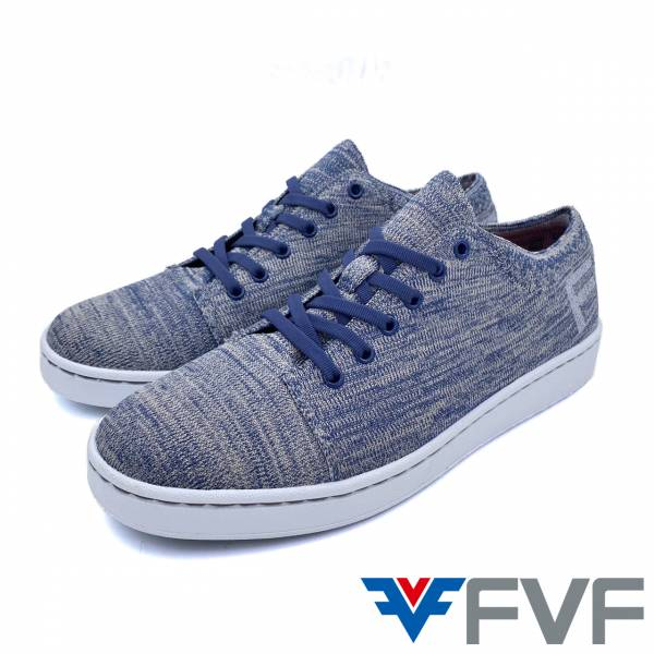 FVF休閒編織平底鞋-混紡藍