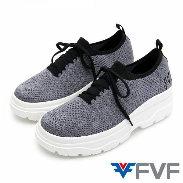 FVF 刺繡厚底低筒編織休閒鞋-灰