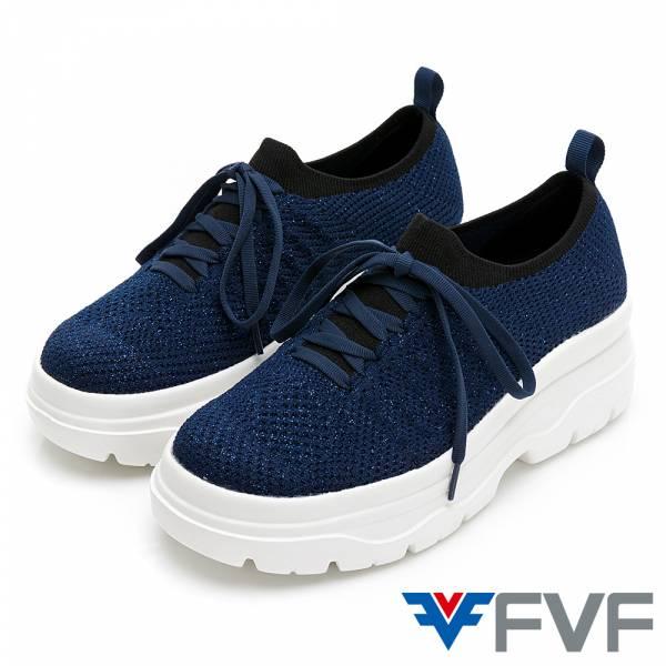 FVF 厚底筒編織休閒鞋-深藍(蔥)
