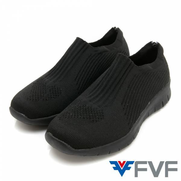 FVF素面健走編織鞋-黑
