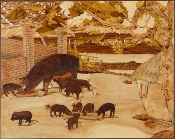 木箔藝術畫作-農村文化系列-諸事如意 十全十美 畫,藝術,農村,文化,豬年,禮品,春節