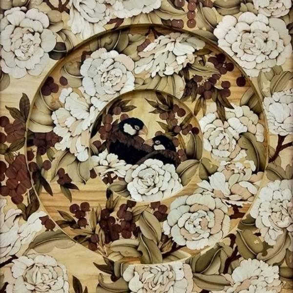 木箔藝術畫作-同心圓-黑文鳥 畫,藝術,客製化,幸福,快樂