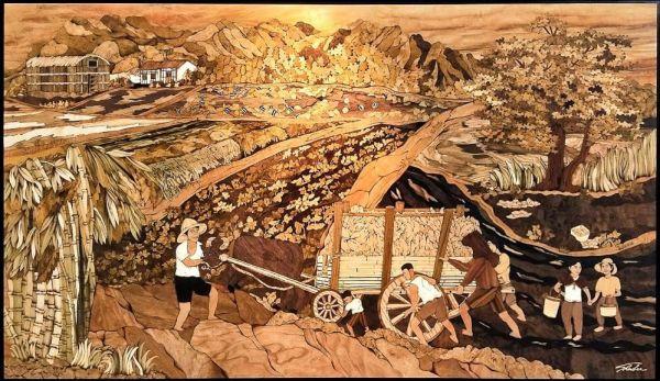 木箔藝術畫作-農村文化系列-憶母牛懷親恩  畫,藝術,冠軍,榮耀,文化