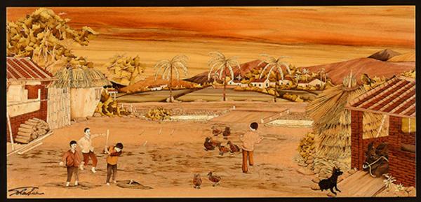 木箔藝術畫作-農村文化系列-農家樂 打寸 畫,藝術,農村,文化,客製化