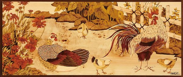 木箔藝術畫作-農村文化系列-家 畫,藝術,冠軍,家,農村,文化,起家,雞,新居落成賀禮