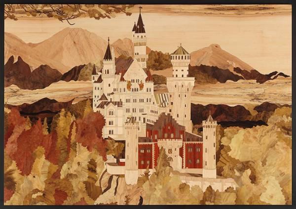 木箔藝術畫作-新天鵝堡 畫,藝術,新天鵝堡,城堡