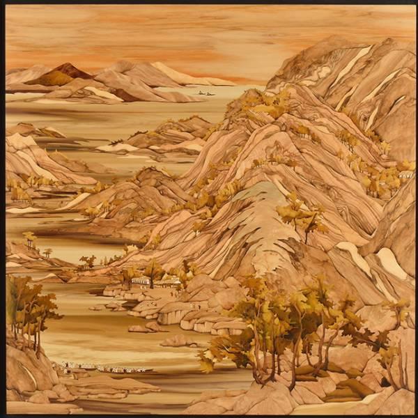木箔藝術畫作-山水圖 畫,藝術,山,山水畫
