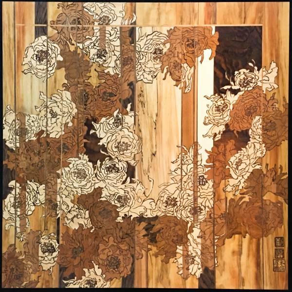木箔藝術畫作-灼灼其華 轉生牡丹 畫,藝術,畫作,牡丹,樹