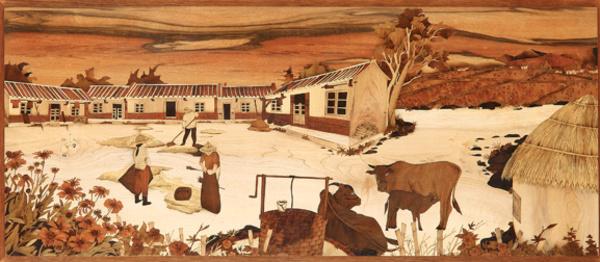 木箔藝術畫作-農村文化系列-農家 畫,藝術,農村,文化,米