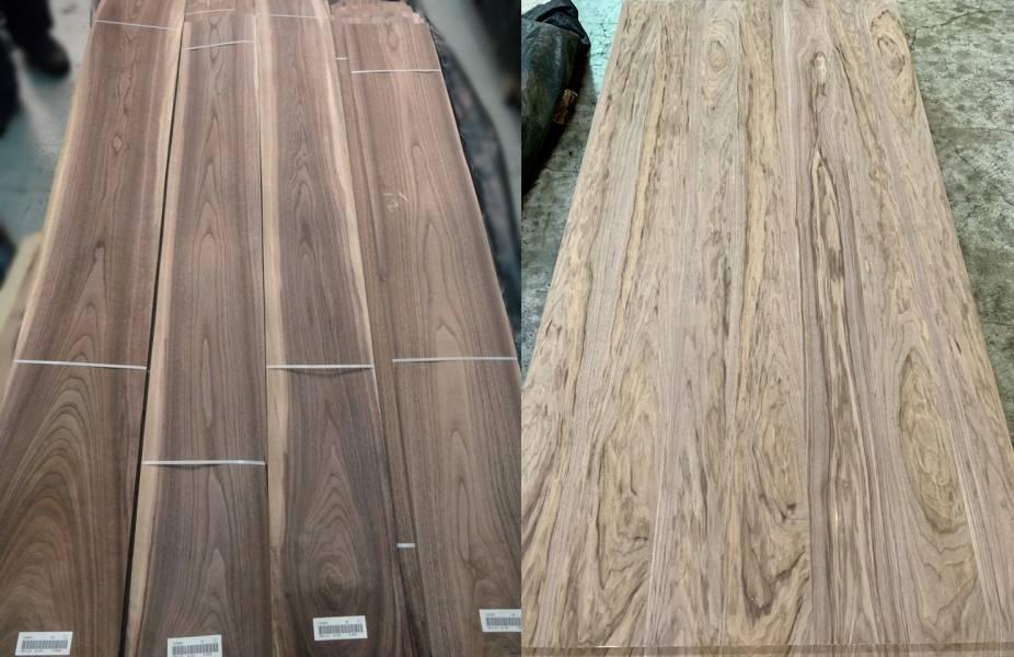 您能想像,兩張圖片是來自於同一樹種(胡桃木)的 天然木皮嗎 胡桃木,天然木皮,裝潢板材,實木木皮