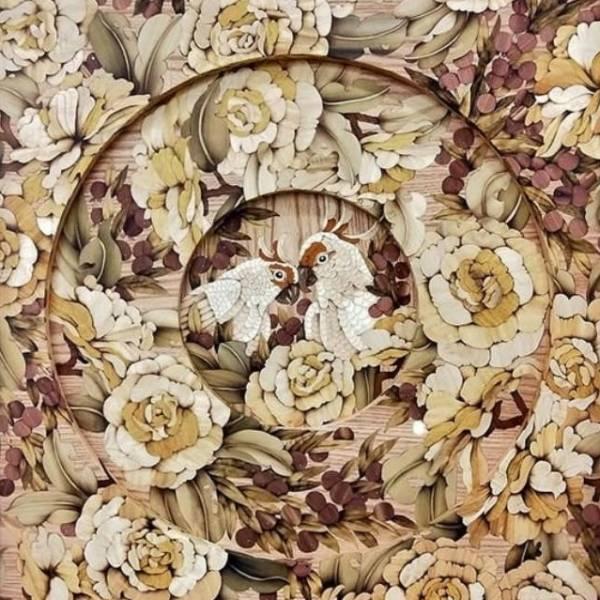木箔藝術畫作-同心圓-鸚鵡 畫,藝術,幸福,鸚鵡,客製化
