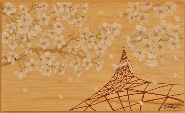 木箔藝術畫作-京の櫻-白晝 畫,藝術,東京,東京鐵塔,櫻花