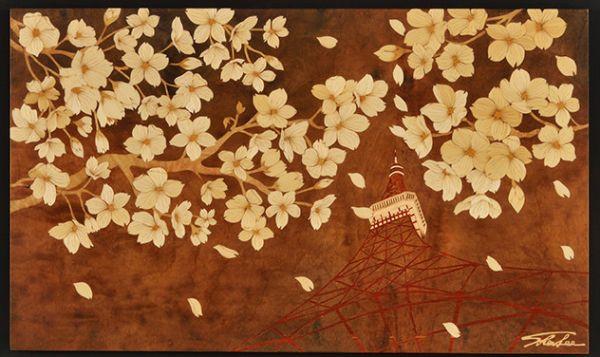木箔藝術畫作-京の櫻-夜暮 畫,藝術,東京,東京鐵塔,櫻花