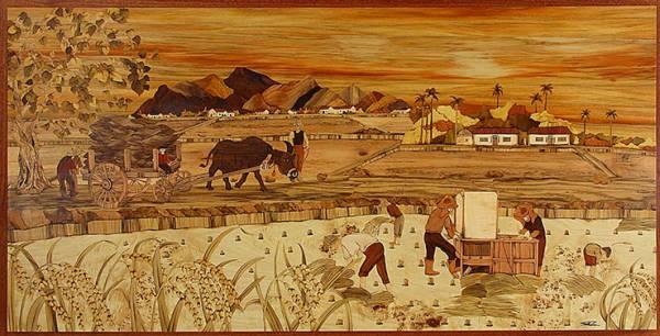 木箔藝術畫作-農村文化系列-豐收 畫,藝術,台灣農村,文化,米,稻穗,紀念,兒時回憶