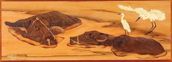 木箔藝術畫作-水牛飛鶴-成雙成對 畫,藝術,冠軍,家具,情人節,結婚,禮物,退休賀禮